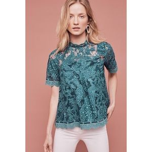 Anthro HD In Paris Lace Meadows Turquoise Blouse